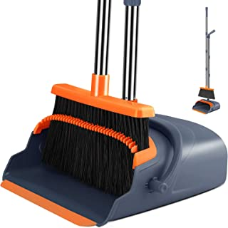 Kelamayi 2021 Upgrade Broom and Dustpan Set, Large Size and Stiff Broom Dust pan with 55.9 inch Long Handle, Upright Dustp...