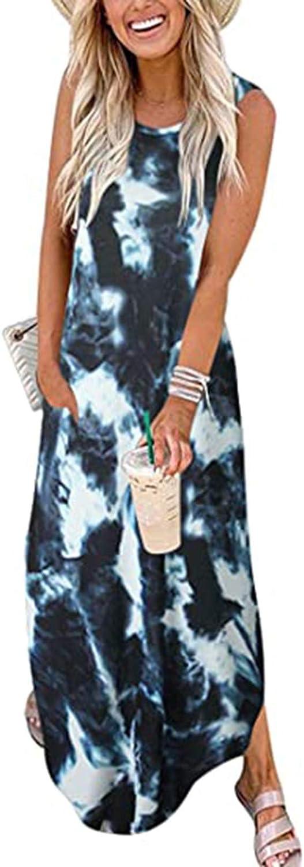 Jinjin2 Maxi Dress for Women, Tank Top Dress Loose Round Neck Long Dress Print Sleeveless Casual Summer Beach Dress