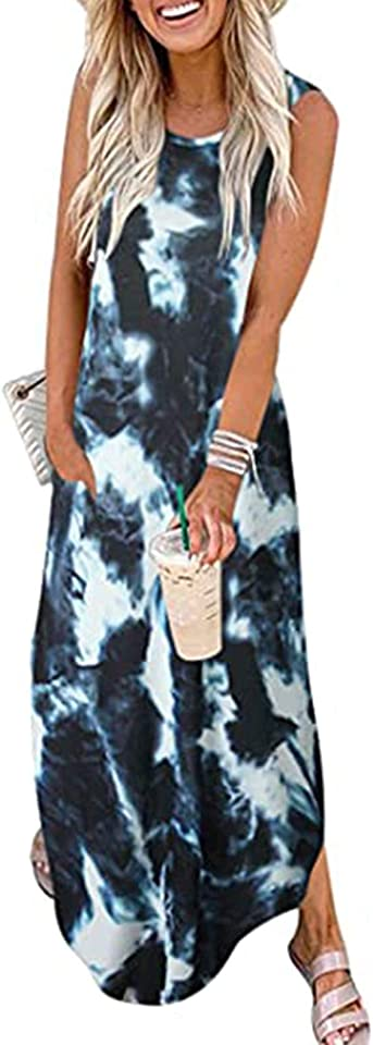 Summer Dresses for Women O Neck Sleeveless Pocket Casual Floral Print Beach Maxi Bohemian Dress Cocktail Club Party