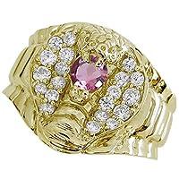 [プレジュール]スネーク リング コブラ メンズ ピンクトルマリンリング K10イエローゴールド 蛇 指輪 リングサイズ13号