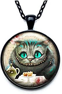 Alice In Wonderland LARGE BRONZE TONE CHESHIRE CAT ON CHAIR NECKLACE Vintage