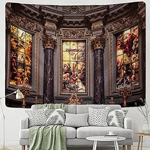 KBIASD Tapiz de Iglesia para Colgar en la Pared, decoración de habitación Bohemia, tapices Hippies de algodón Indio, Ropa de Cama Bohemia, Colcha Doble de60*80inch