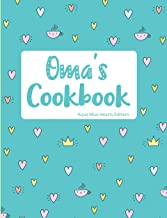 Oma's Cookbook Aqua Blue Hearts Edition