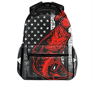 Bass Fishing Lure And American Flag Casual Backpack Bag, Fashion Lightweight Backpacks for Teen Young Girls