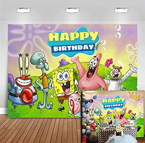 Vinyl Photography Backdrop Cartoon for Children Happy Birthday Party Banner Decoration Photo Booth Studio Props Animation Spongebob Patrick Start Photo Background Baby Shower Cake Table 5x3ft