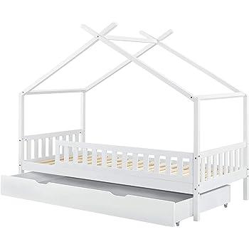 Kinderbett Hausbett Bettgestell Lattenrost Bettkasten Weiß Kinder Bett ArtLife®