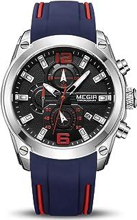 Orologio da Uomo Cronografo Luminoso da Uomo al Quarzo con Cinturino in Silicone Blu Calendario Automatico Impermeabile