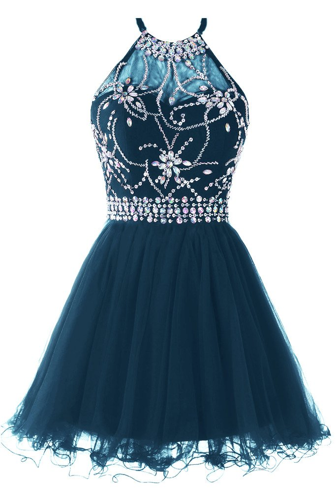 Available at Amazon: Musever Women's Halter Short Homecoming Dress Beading Tulle Prom Dress