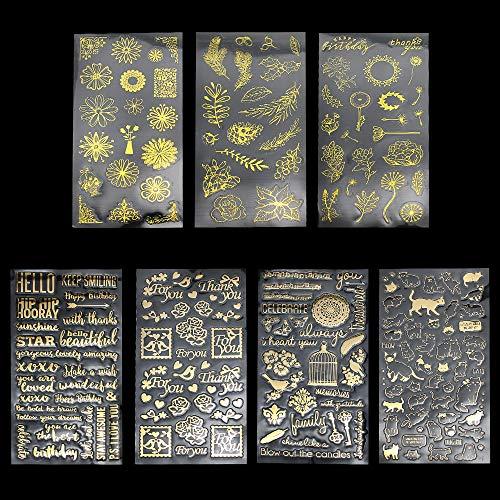 TXErfolg 7 Blatt Scrapbooking Sticker Gold Selbstklebende wasserdichte Aufkleber für Scrapbooking und DIY Handwerk Inklusive Frische Blüten Blätter Elegante Buchstaben Schöne Vögel Süße Katzen