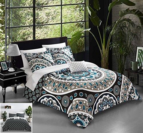 Chic Home QS5277-AN 4 Piece Lucena Large Scale Contempo Bohemian Reversible Printed with Embroidered Details. King Quilt Set Black
