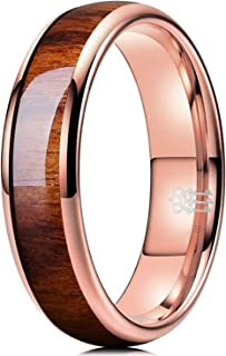 Three Keys Jewelry 4mm Tungsten Wedding Ring Domed with Real Koa Wood Inlay Silver Rose Gold Wedding Band