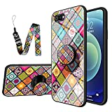 JZ Realme C2 National Style Flower Design Glass Funda For para OPPO Realme C2 / A1K with Long Wrist Strap Soft Edge + Tempered Glass Back Cover - A