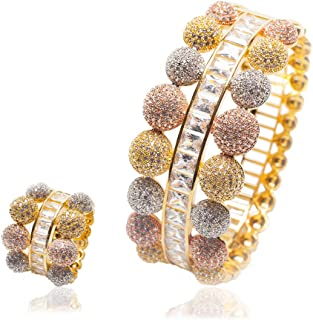 Woman Multicolour 2pcs/Set Jewelry Bracelet Ring Set Round Ball Copper White Square Zircon Plated 18K Rose Gold for Party ...