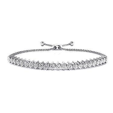 14K White Gold Real Diamond 2-Prong Tennis Adjustable Bolo Bracelet (1.01 Ct, I2-J)