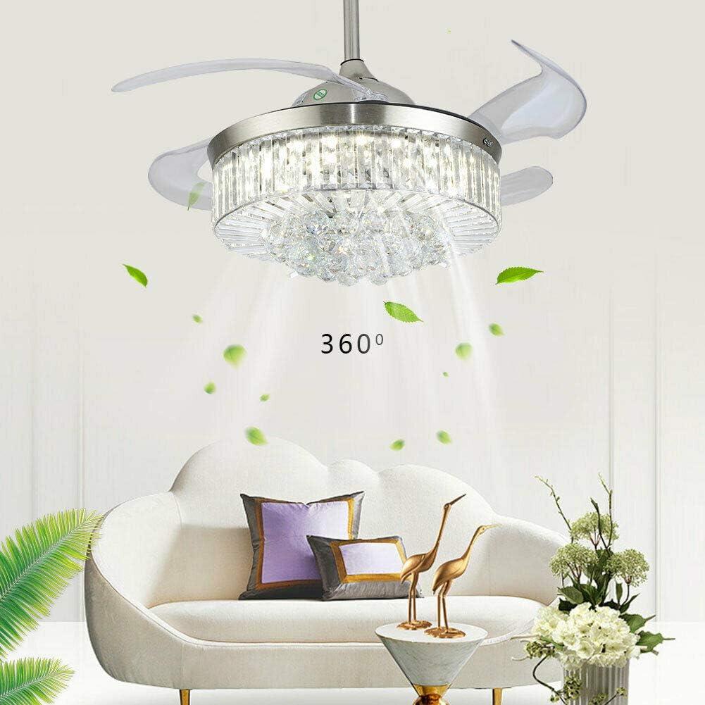 Ventilador de techo de cristal de 36 pulgadas con mando a distancia, 3 velocidades, acero inoxidable, cristal K9, ventilador ABS, luz LED moderna