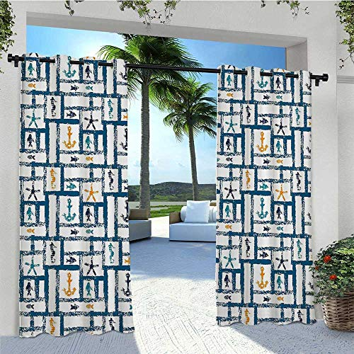 Outdoor Curtain Drapes Marine Grunge Starfish Anchor Seahorse Underwater Marine Murky Design Outdoor Privacy Porch Curtains for Pavilion Farmhouse Cabin Petrol Blue Marigold Teal W96 x L84 Inch