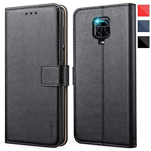 Ganbary Handyhülle für Xiaomi Redmi Note 9s / 9 Pro Hülle, Premium Leder Tasche [Kartenschlitzen] [Standfunktion] für Note 9s Schutzhülle, Schwarz