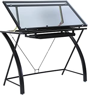 MEEDEN Glass Top Drafting Table - Tiltable Drawing Desk for Artists - Modern Craft Station with Large Working Surface - for Artwork, Graphic Design, Sketching and Tracing - Black Tempered Glass