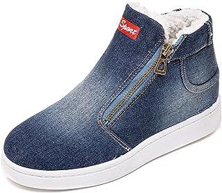 XIANV حذاء شتوي دافئ للنساء جينز جينز جزمة الثلوج كلاسيك عالية الرقبة جولة اصبع القدم عارضة أحذية رياضية, (ازرق داكن), 37 EU