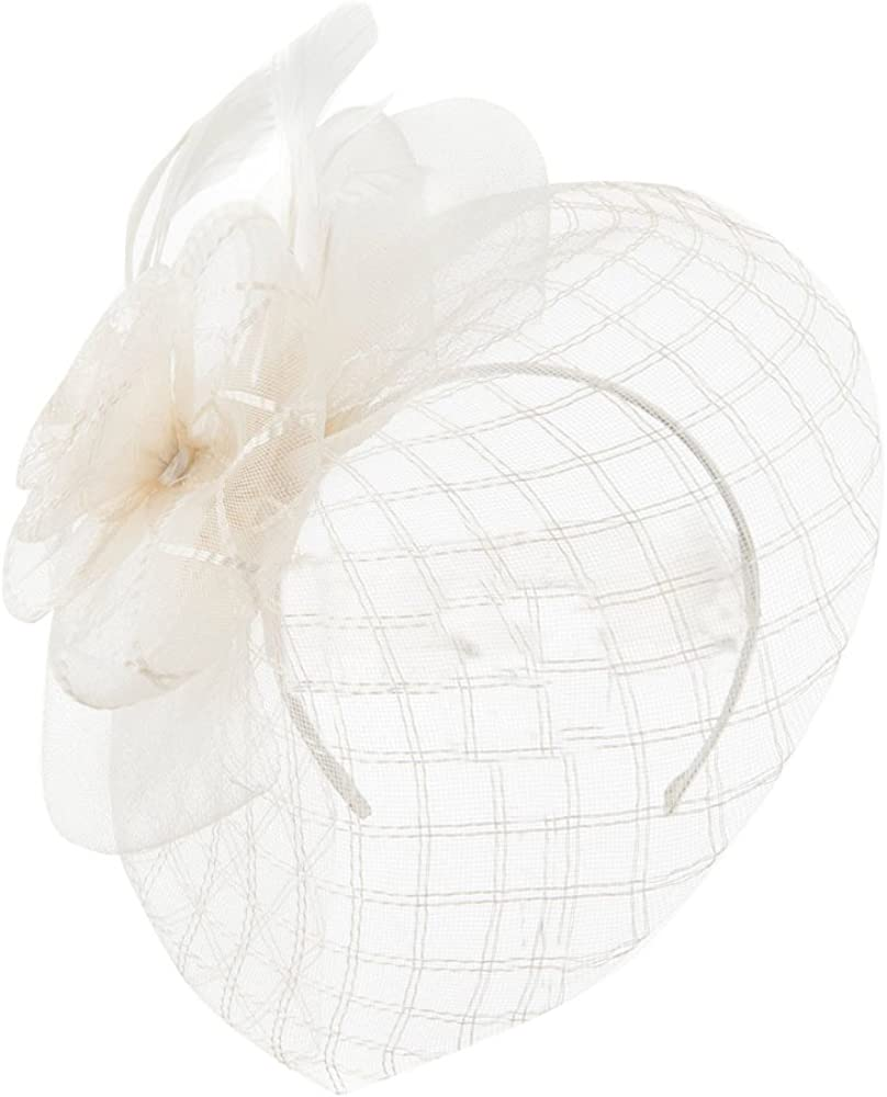 Spiral Design Net Fascinator with Feathers - Ivory