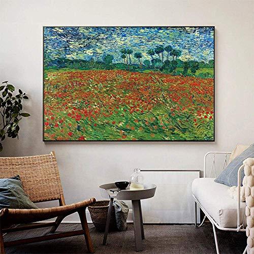 Rompecabezas de Madera con Pintura Famosa, Rompecabezas de Campo de Amapolas Van Gogh de 1000 Piezas, Adultos Alivia el estrés y Rompecabezas para niños