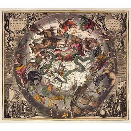 Meishe Art Poster Jahrgang Plakatdruck Plakate Drucken Antiken Astronomie Wissenschaft Astronomische Das Sonnensystem Atlas Karte Club Amt Zu Hause Mauer Dekoration Historische Kunst Wand Dekor
