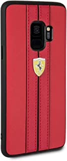 CG Mobile Ferrari Pu Leather Case for Samsung Galaxy S9 Hard Cell Phone Cover with Contrasting Stitching Finishes Easy Sna...