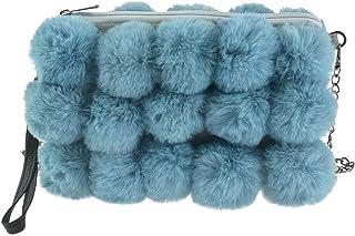 Damen Flauschige Pompons Pelz Schultertasche Damen Winter Mode Reißverschluss Crossbody Tasche