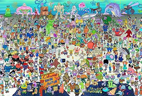 Skwenp Spongebob Holzpuzzle, 300/500/1000 Stück, Flugzeug Puzzle Spielzeug for Erwachsene Dekomprimierung Spiel Puzzle, Kinder Learning Lernspielzeug, Geschenke for Kinder und Erwachsene