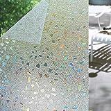 Shackcom 3D Vinilo Película de Ventana Privacidad Pegatina 90 * 200cm-sin Adhesivo-Decorativas para Electrostatica Translucido Anti UV Cristal Laminas Multicolor para Hogar Cocina Baño y Oficina-S170
