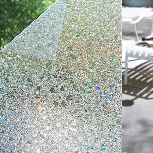 Shackcom 3D Vinilo Película de Ventana Privacidad Pegatina 90 * 400cm-sin Adhesivo-Decorativas para Electrostatica Translucido Anti UV Cristal Laminas Multicolor para Hogar Cocina Baño y Oficina-S170