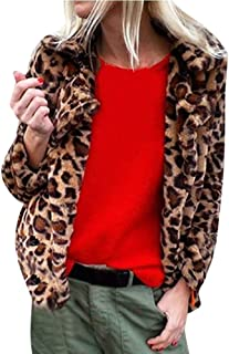 Womens Leopard Coat, Fashion Thick Faux Fur Winter Coat Outwear Turn Down Collar Cardigan Coat Short Jacket