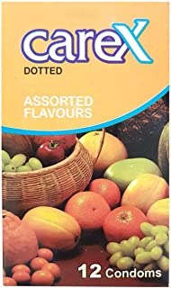 Carex Assorted Flavours Condoms, Natural, Pack of 12
