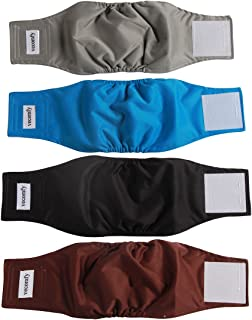vecomfy Washable Belly Bands for Male Dogs 4 Pack,Premium Reusable Small Dog Wrap Leakproof Puppy Diapers