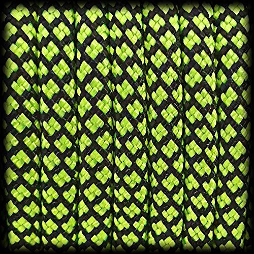 Paracorde 550 Corde Diamond pour bracelet, laisse, collier 100 % nylon corde 30 mètres, couleur : vert fluo/noir