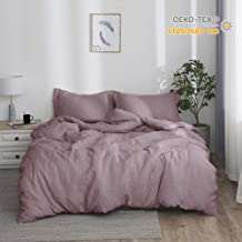 Simple&Opulence 100% Linen Stone Washed 3pcs Basic Style Solid Duvet Cover Set (Queen, Purple)