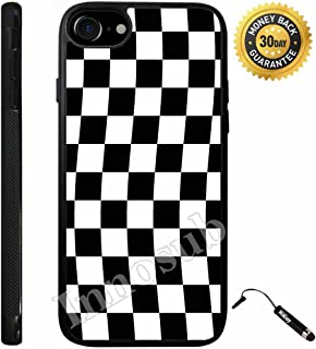 Custom iPhone 7 Case (Checkered Flag Finish Line) Edge-to-Edge Rubber Black Cover with Shock and Scratch Protection   Lightweight, Ultra-Slim   Includes Stylus Pen by Innosub