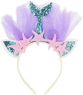 Maticr Glitter Mermaid Headband for Birthday Girl Mermaid Tail Tulle Head Band Under The Sea Party Headwear