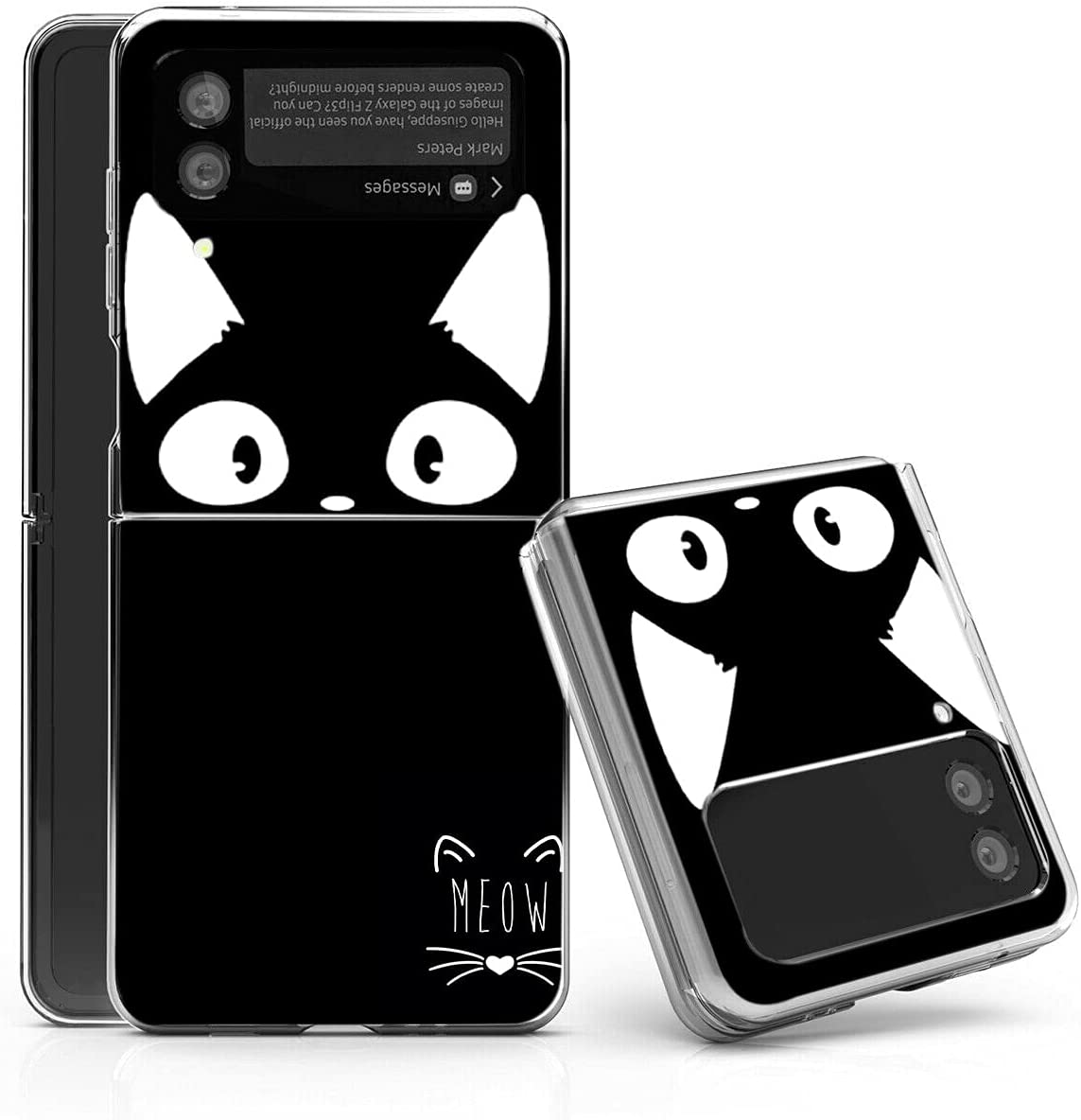 Galaxy Z Flip 3 5G Case,Bcov White Ear Cat Black Anti-Scratch Solid Hard case Protective Shookproof Phone Cover for Samsung Galaxy Z Flip 3 5G