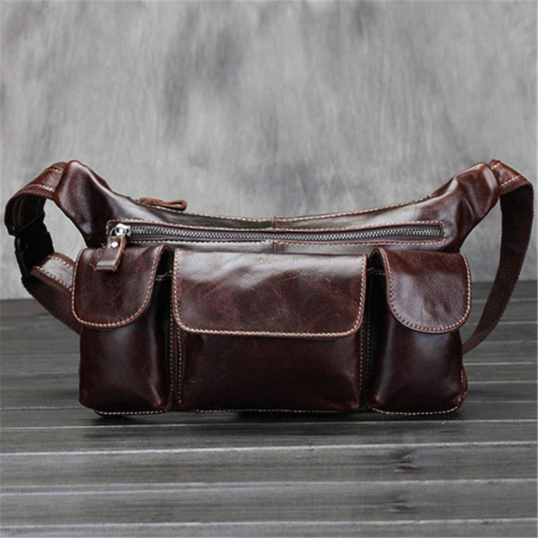 Genuine Leather Men's Waist Bag Cow Leather Fanny Pack Vintage Sling Chest Bags Travel Hip Bum Belt Pouch