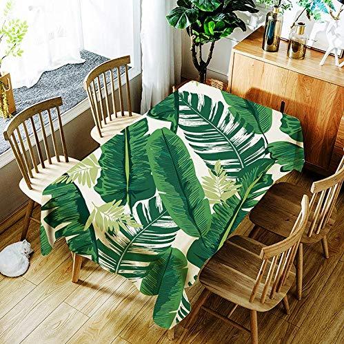 JUNGEN Mantel Estampado del Hojas del Bosque Tropical Mantel Rectangular 140x180cm Mantel Antimanchas Mantel de Poliester para Decoracion de mesas del Cocina Comedor Salon Verde (Verde)