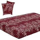 Vaulia Soft Microfiber Sheets, Tree Branch Printed Pattern, Burgundy Red Full Size, 3-Piece Set ( 1 Fitted Sheet, 2 Pillowcases )