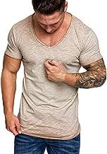 Men's Oversize Herren Vintage T-Shirt Verwaschen V-Neck Basic V-Ausschnitt Shirt