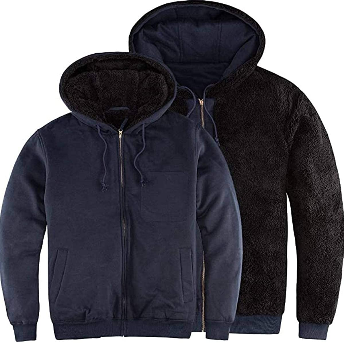 Hoodies for Men Heavyweight Fleece Lined Sherpa Jacket Zip Up Hooded Sweatshirt