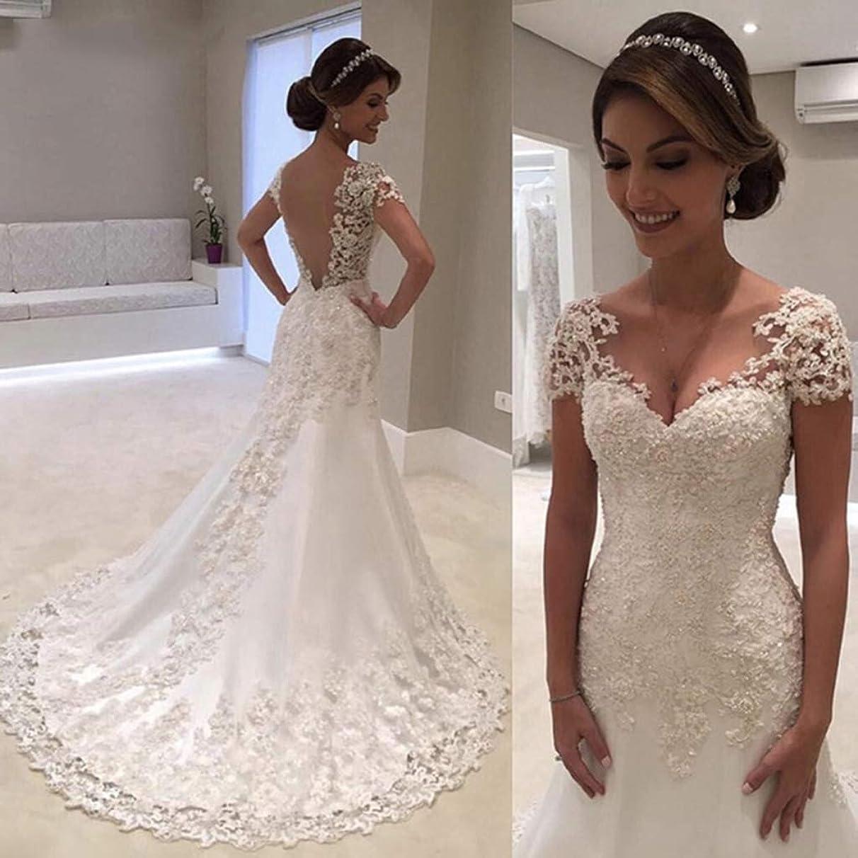 Illusion Vestido De Noiva White Backless Lace Mermaid Wedding Dress 2019 V-Neck Short Sleeve Wedding Gown Bride Dresses Robe de Mariage,US:6(L)