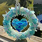 Seashell Wreath Wedding Decoration - Colorful Sea Decoration Wreath, Personalized Starfish Wreath, Sea Glass Wreath with Starfish and Rope Hanger (A)
