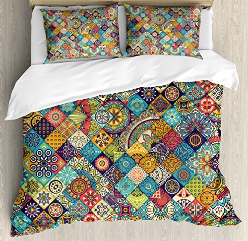 Ambesonne Bohemian Duvet Cover Set, Geometric Pattern with Ornamental Floral Folk Art Abstract, Decorative 3 Piece Bedding Set with 2 Pillow Shams, Queen Size, Blue Cream