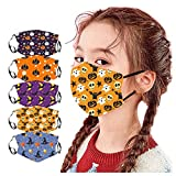FRana 5PC Kids Children Outdoor Cotton Halloween Printed Face Macks Dustproof Face Bandanas Reusable and Washable