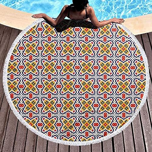 Toalla de playa redonda de microfibra, manta de playa tradicional, tribal, marroquí, caleidoscopio de Oriente Medio, ilustración vintage, toalla de playa ligera para mujeres y hombres de 122 cm