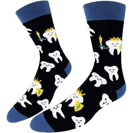 lustiges Zahnzahn-Geschenk HAPPYPOP Damen Socken Crazy Teeth Tool Crew Socken